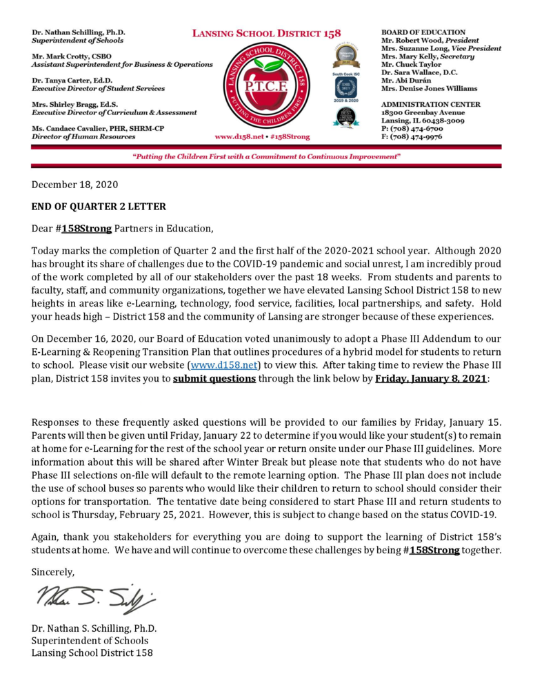 Letter from Dr. Schilling regarding the end of the first half of the 2020-2021 school year and our Phase III Reopening Plan